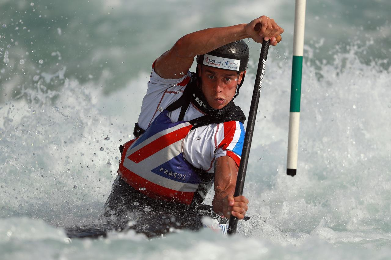 <p>Adam Burgess of Great Britain competes at Lee Valley White Water Center on July 20, 2016 in London, England. (Photo: Bryn Lennon/Getty Images)</p>