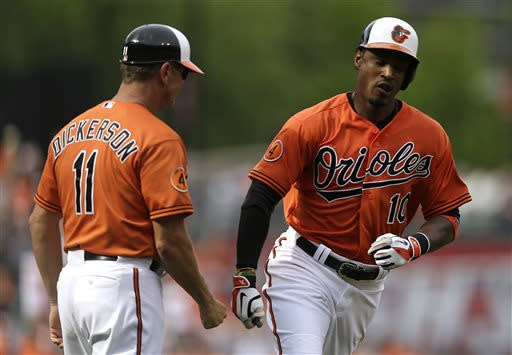Baltimore Orioles' Adam Jones, right, fist-bumps third base coach Bobby Dickerson as he rounds the bases after hitting a solo home run in the fourth inning of a baseball game, Saturday, July 13, 2013, in Baltimore. (AP Photo/Patrick Semansky)