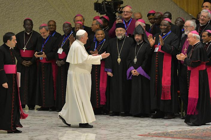 Pope Francis (C) greets bishops as he arrives for his weekly general audience at Paul VI audience hall on February 4, 2015 at the Vatican (AFP Photo/Andreas Solaro)
