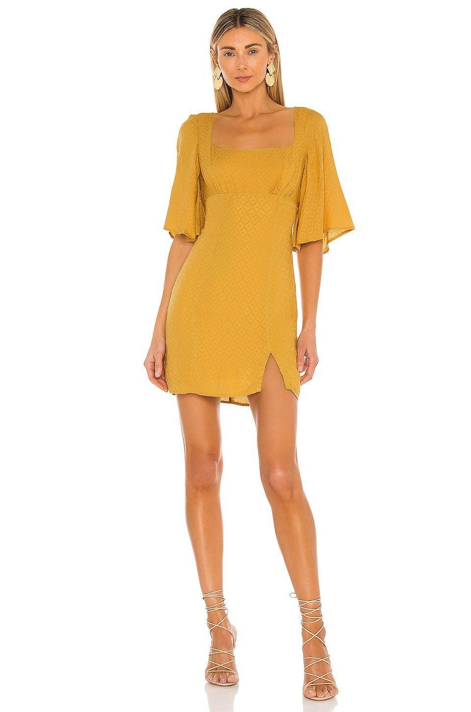 """<p><strong>House of Harlow 1960</strong></p><p>revolve.com</p><p><strong>$188.00</strong></p><p><a href=""""https://go.redirectingat.com?id=74968X1596630&url=https%3A%2F%2Fwww.revolve.com%2Fdp%2FHOOF-WD730%2F&sref=https%3A%2F%2Fwww.womenshealthmag.com%2Flife%2Fg36173394%2Fsummer-wedding-guest-dresses%2F"""" rel=""""nofollow noopener"""" target=""""_blank"""" data-ylk=""""slk:Shop Now"""" class=""""link rapid-noclick-resp"""">Shop Now</a></p><p>The keyhole back and flowing sleeves are the perfect small details to elevate an otherwise classic fit dress. The mustard color is ideal for summer, too. </p>"""