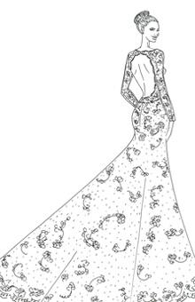 "<div class=""caption-credit""> Photo by: Illustration: Courtesy of Alfred Angelo</div><div class=""caption-title""></div><b>Alfred Angelo <br></b> <br> Alfred Angelo designer Michael Shettel chose to focus on the hallmarks of Angelina Jolie's red-carpet style in dreaming up a fantasy wedding gown for the star. ""Angelina has a classic, yet minimalist style,"" Shettel notes. ""Never one to be overly designed, she chooses to highlight her figure in something body hugging and dramatic."" The designer stayed true to such a silhouette with this re-embroidered lace, natural-waist mermaid gown, adding just a dose of Hollywood glamour with delicate crystal beading. ""She also likes to keep the flash of skin limited to one particular area, such as a dramatic side slit skirt, or a daring open back,"" says Shettel, who opted for a dramatic back and sheer sleeves. ""I wanted to create something that would be classically beautiful and remain true to her personal style."" <br> <br> <br>"