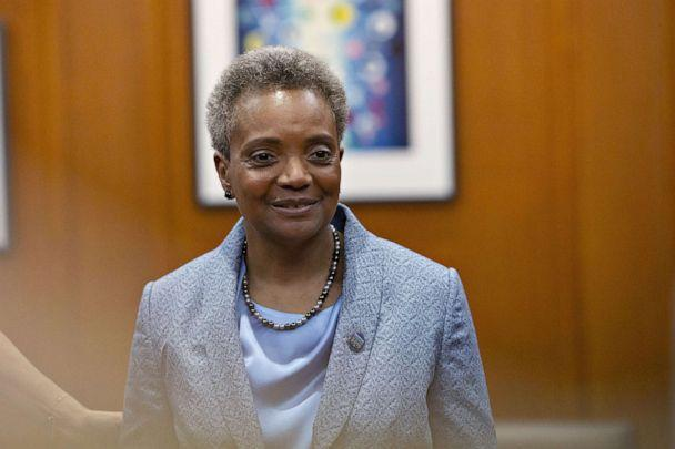 PHOTO: Lori Lightfoot, mayor of Chicago, stands in her office during a public open house at City Hall in Chicago, May 20, 2019.  (Daniel Acker/Bloomberg via Getty Images)