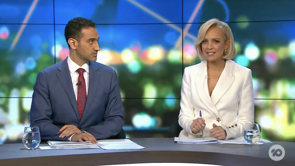 Waleed Aly and Carrie Bickmore at The Project desk