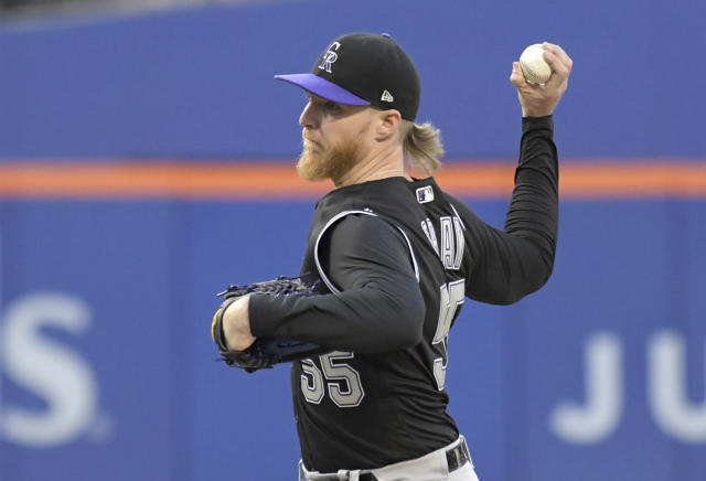 Colorado Rockies starting pitcher Jon Gray delivers to the New York Mets during the first inning of a baseball game Saturday, June 8, 2019, in New York. (AP Photo/Bill Kostroun)