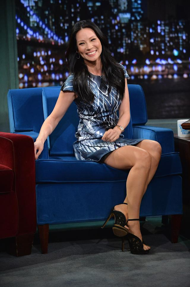 """NEW YORK, NY - NOVEMBER 05: Lucy Liu visits """"Late Night With Jimmy Fallon"""" at Rockefeller Center on November 5, 2013 in New York City. (Photo by Theo Wargo/Getty Images)"""