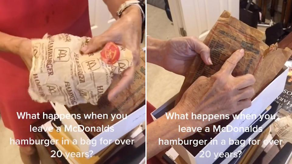 Grandmother shows what a 24-year-old McDonald's hamburger looks like