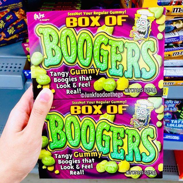 <p>If you've ever wanted to eat your own boogers (ew!) this one, um, I guess is for you? It's supposed to mimic the look and feel of your boogers. Not the taste though. You can pick 'em up at Walmart if you dare. </p>