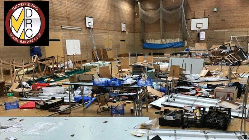 "Market Deeping Model Railway Club representatives said a ""scene of absolute devastation"" greeted them at their annual exhibition. (Credit: Market Deeping Model Railway Club/JustGiving)"