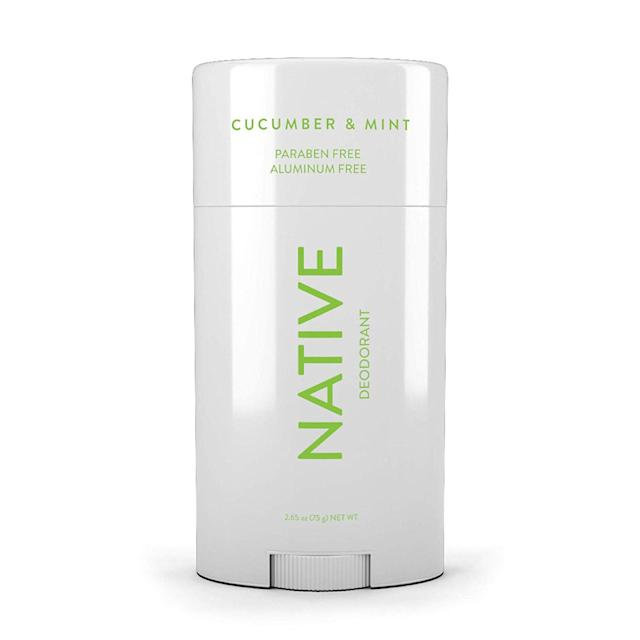 """<p>Native is another brand Yong recommends for folks on the hunt for aluminum-free deos. This one, in particular, smells like crisp cucumber and mint, and has amassed over 3,000 five-star reviews on Target. Specifically formulated for sensitive skin, it's also void of any other harsh chemicals and synthetic fragrances and uses natural ingredients like tapioca starch and milk of magnesia to thwart sweat and odor.</p> <p>$12 (<a href=""""https://shop-links.co/1675590854707426972"""" rel=""""nofollow noopener"""" target=""""_blank"""" data-ylk=""""slk:Shop Now"""" class=""""link rapid-noclick-resp"""">Shop Now</a>)</p>"""