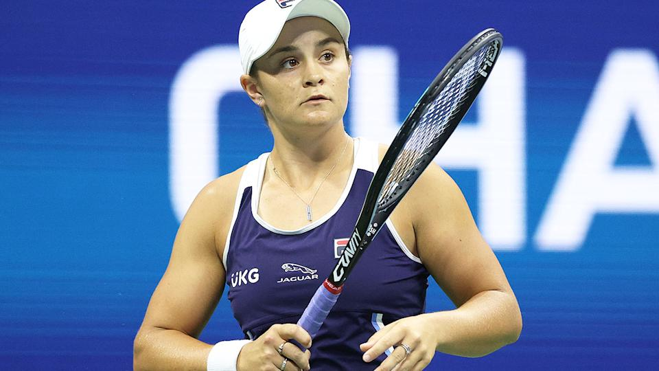 Ash Barty is pictured here at the 2021 US Open.