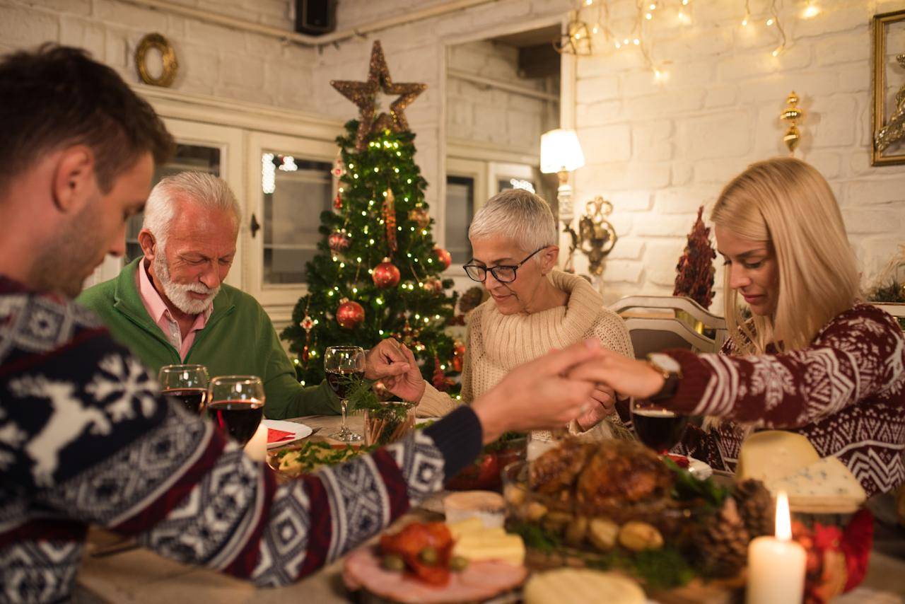 """<p>Nothing brings a family closer than feelings of praise and gratitude during an intimate dinner. Make your Christmas evening extra special by reciting one of these prayers before a delicious <a href=""""https://www.womansday.com/food-recipes/food-drinks/g2055/christmas-dinner-ideas/"""" target=""""_blank"""">holiday meal</a> with your loved ones. Then, celebrate by blasting <a href=""""https://www.womansday.com/life/entertainment/g24513261/best-christian-christmas-songs/?"""" target=""""_blank"""">Christmas music</a>!</p>"""