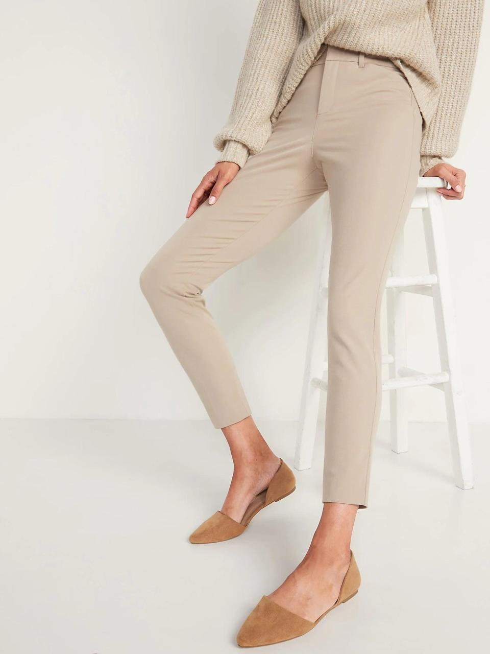 <p>The best thing about these tan <span>Old Navy High-Waisted Never-Fade Pixie Ankle Pants</span> ($40) is that they keep the same shade, no matter how many times you wash and wear them.</p>
