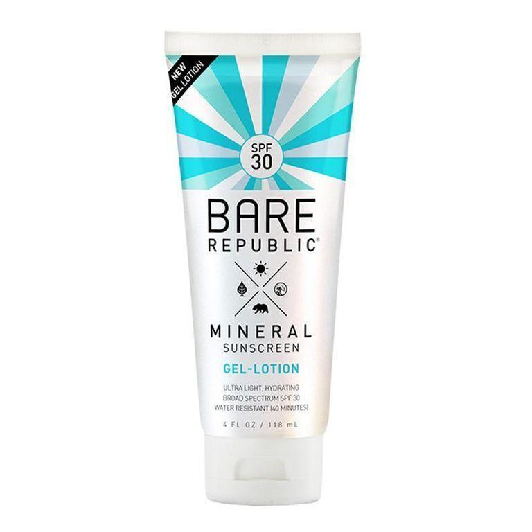 """<p><strong>Bare Republic</strong></p><p>ulta.com</p><p><strong>$16.99</strong></p><p><a href=""""https://go.redirectingat.com?id=74968X1596630&url=https%3A%2F%2Fwww.ulta.com%2Fmineral-body-sunscreen-gel-lotion-spf-30%3FproductId%3Dpimprod2013019&sref=https%3A%2F%2Fwww.menshealth.com%2Fstyle%2Fg21753744%2Fbeach-essentials%2F"""" rel=""""nofollow noopener"""" target=""""_blank"""" data-ylk=""""slk:BUY IT HERE"""" class=""""link rapid-noclick-resp"""">BUY IT HERE</a></p><p><a href=""""https://www.menshealth.com/grooming/g32581649/best-reef-safe-sunscreen/"""" rel=""""nofollow noopener"""" target=""""_blank"""" data-ylk=""""slk:Mineral sunscreens are great for the environment"""" class=""""link rapid-noclick-resp"""">Mineral sunscreens are great for the environment</a>, but can leave a white cast on your skin. Bare Republic's innovative gel formula is a game changer for no-residue sun protection with great ingredients to nourish your skin. </p>"""