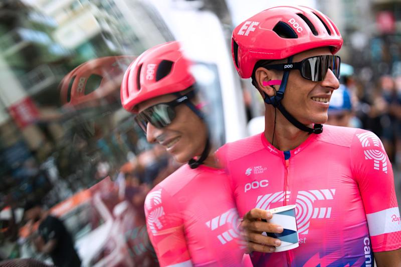 EF Pro Cycling's Lachlan Morton enjoys a morning coffee ahead of the start of stage 5 at the 2020 Tour Down Under