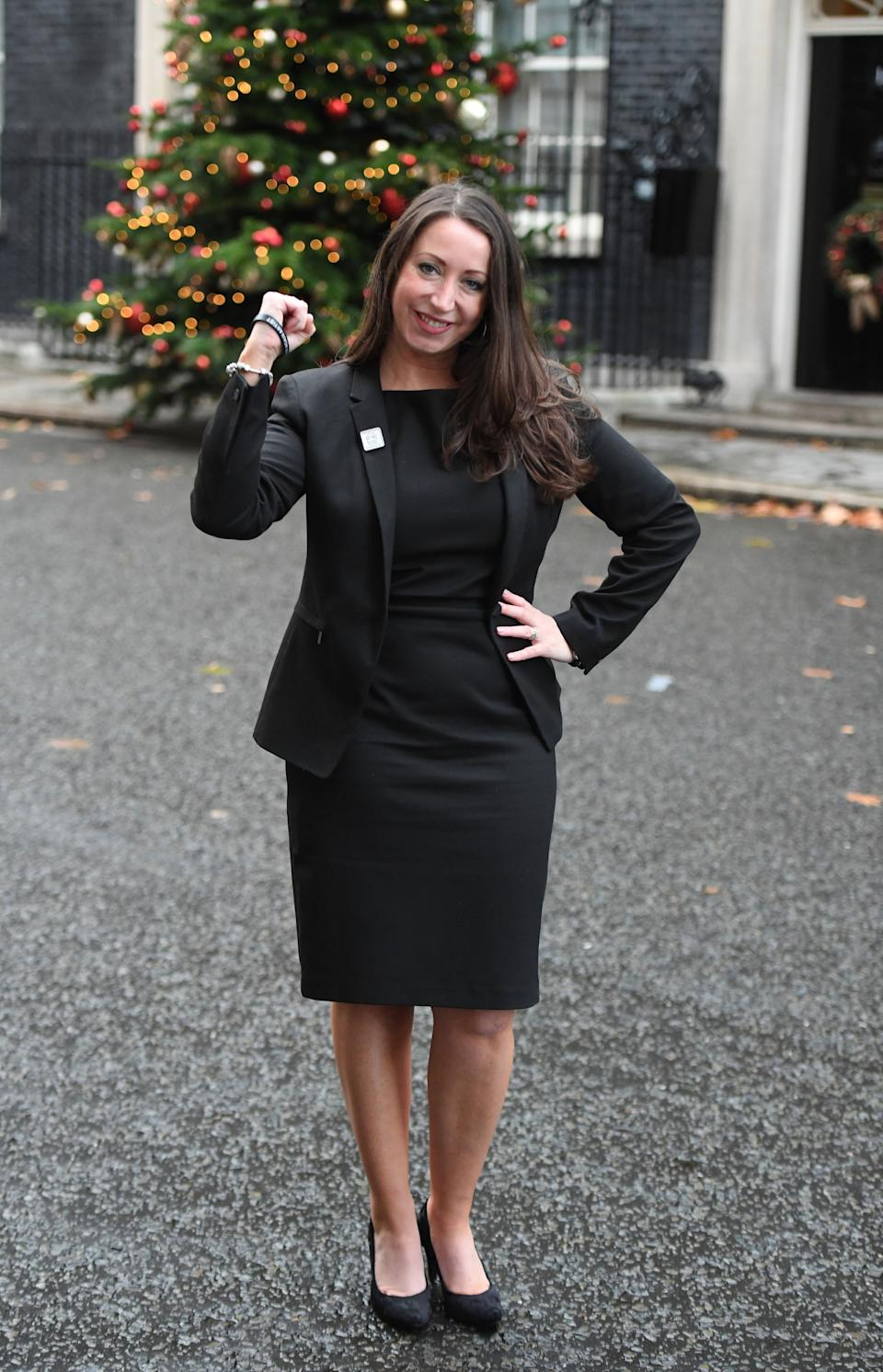 Paula Williamson, the wife of prisoner Charles Bronson, stands in Downing Street, London, after delivering a petition to number 10, in support of her husband being released from prison.