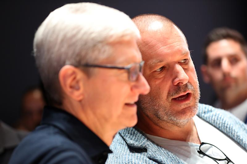 SAN JOSE, CALIFORNIA - JUNE 03: Apple CEO Tim Cook (L) and Apple chief design officer Jony Ive (R) look at the new Mac Pro during the 2019 Apple Worldwide Developer Conference (WWDC) at the San Jose Convention Center on June 03, 2019 in San Jose, California. The WWDC runs through June 7. (Photo by Justin Sullivan/Getty Images)