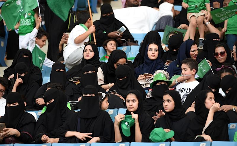 A file picture taken on September 23, 2017 shows Saudi women at a stadium for an event commemorating the anniversary of the founding of the kingdom (AFP Photo/Fayez Nureldine)