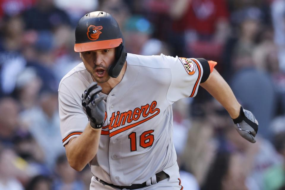 Baltimore Orioles' Trey Mancini runs on his three-run double during the seventh inning of a baseball game against the Boston Red Sox, Sunday, Sept. 19, 2021, in Boston. (AP Photo/Michael Dwyer)