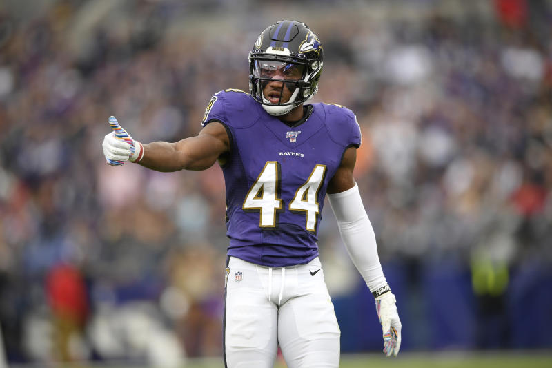 Baltimore Ravens cornerback Marlon Humphrey had a heartfelt message for his dad after signing a big contract extension. (AP Photo/Nick Wass)