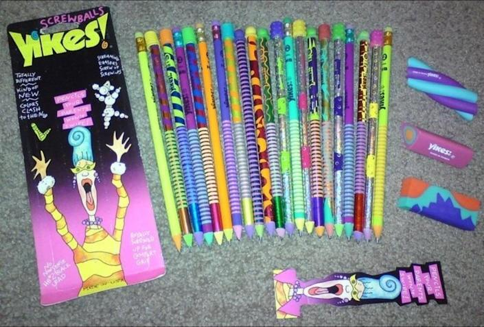 <p>Yikes! pencils were just your basic pencil, but they had a much cooler design. They were colorful and bold and were just meant to make a boring school supply more fun. They aren't made anymore, but you might still be able to find them on Ebay.</p>