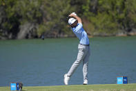 Max Homa tees off the 14th hole during a second round match at the Dell Technologies Match Play Championship golf tournament Thursday, March 25, 2021, in Austin, Texas. (AP Photo/David J. Phillip)