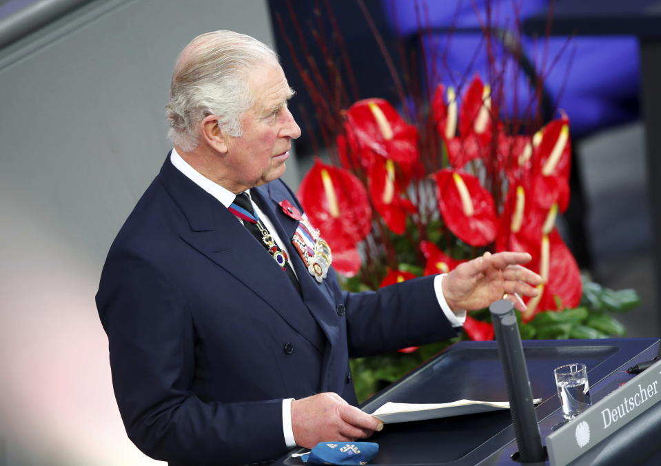 Britain's Prince Charles holds a speech at the German lower house of parliament Bundestag as he and his wife Camilla, Duchess of Cornwall, attend an official Remembrance Day ceremony in Berlin, Germany, Nov. 15, 2020. (Axel Schmidt/Pool via AP)