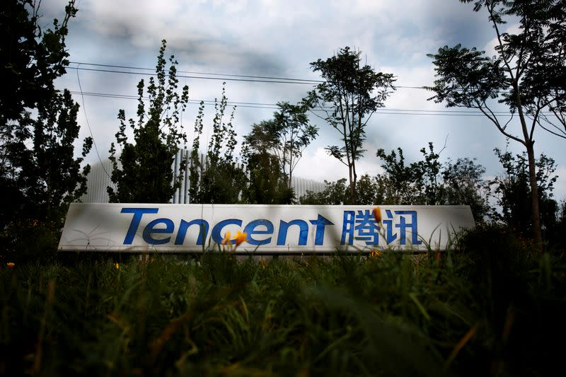 FILE PHOTO: A logo of a Chinese tech firm Tencent, owner of a messaging app WeChat, is pictured in Beijing