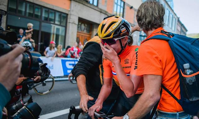 "<span class=""element-image__caption"">Dutchwoman Chantal Blaak weeps with joy after winning the world road race title in Bergen.</span> <span class=""element-image__credit"">Photograph: Jonathan Nackstrand/AFP/Getty Images</span>"