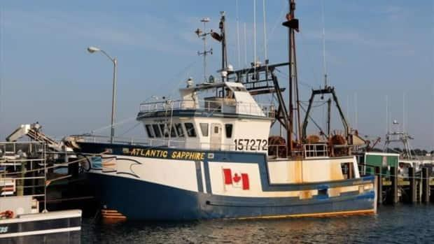 The Atlantic Sapphire, seen here at port in Meteghan, N.S., was trawling for haddock when it sank in 2018. All crew members were rescued without injury. (Steven Kennedy/marinetraffic.com - image credit)
