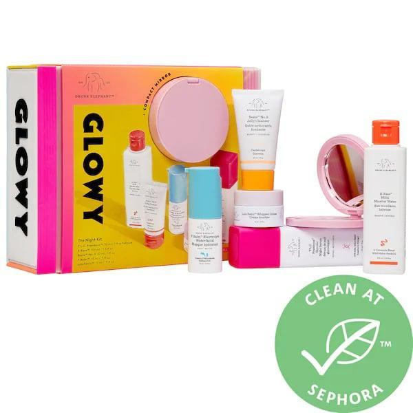 <p>This new <span>Drunk Elephant Glowy the Night Kit</span> ($98) packs all the skin-care goodies needed for an overnight away.</p>