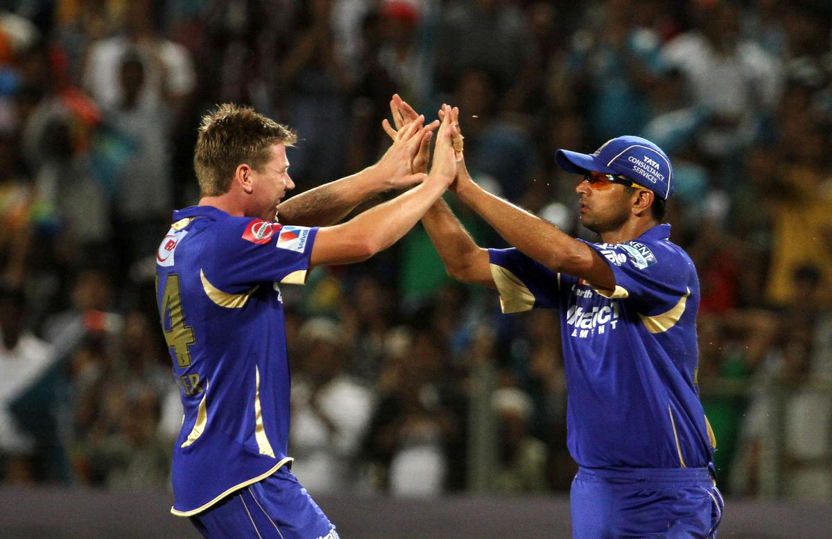 Rajasthan Royals captain Rahul Dravid celebrates after he takes a catch during match 13 of the Pepsi Indian Premier League ( IPL) 2013  between The Pune Warriors India and the Rajasthan Royals held at the Subrata Roy Sahara Stadium, Pune on the 11th April  2013..Photo by Vipin Pawar-IPL-SPORTZPICS ..Use of this image is subject to the terms and conditions as outlined by the BCCI. These terms can be found by following this link:..https://ec.yimg.com/ec?url=http%3a%2f%2fwww.sportzpics.co.za%2fimage%2fI0000SoRagM2cIEc&t=1498369370&sig=Ck7dAiaK1DMSyfOXuyaJ.g--~C