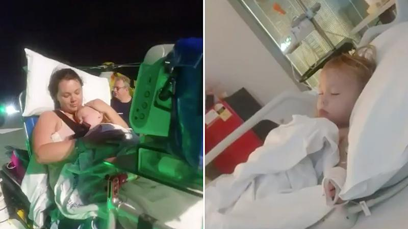 A Toowoomba girl, 2, pictured with her mum on the left and in a hospital on the right after swallowing button batteries.