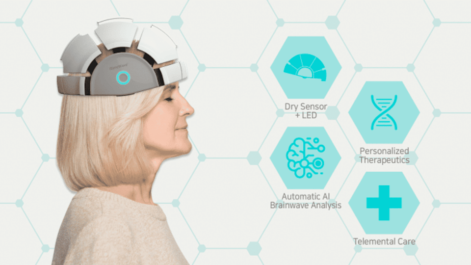 The iSyncWave helmet is a brain-mapping device to detect early signs of Alzheimer's and provide LED-light therapy for dementia, Parkinson's disease, PTSD, ADHD, depression and other neurological issues.