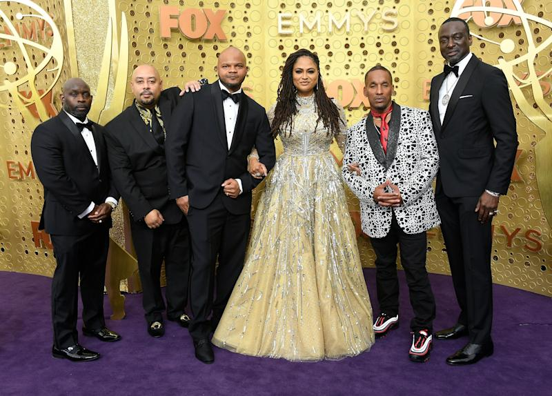 From left to right: Antron McCray, Raymond Santana, Kevin Richardson, Ava DuVernay, Korey Wise and Yusef Salaam arrive for the 71st Emmy Awards. (Photo: Frazer Harrison via Getty Images)