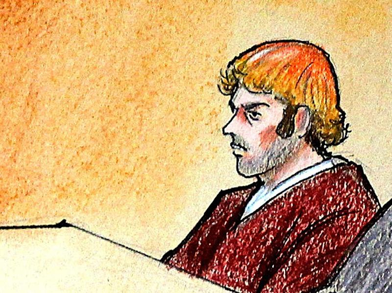 In this courtroom sketch, suspect James Holmes, third from right, sits in district court Monday, July 30, 2012, in Centennial, Colo. Holmes was charged Monday with 24 counts of murder and 116 counts of attempted murder in the shooting rampage at an Aurora movie theater. The July 20 attack at a midnight showing of the new Batman movie left 12 people dead and 58 others injured. (AP Photo/Jeff Kandyba, Pool)