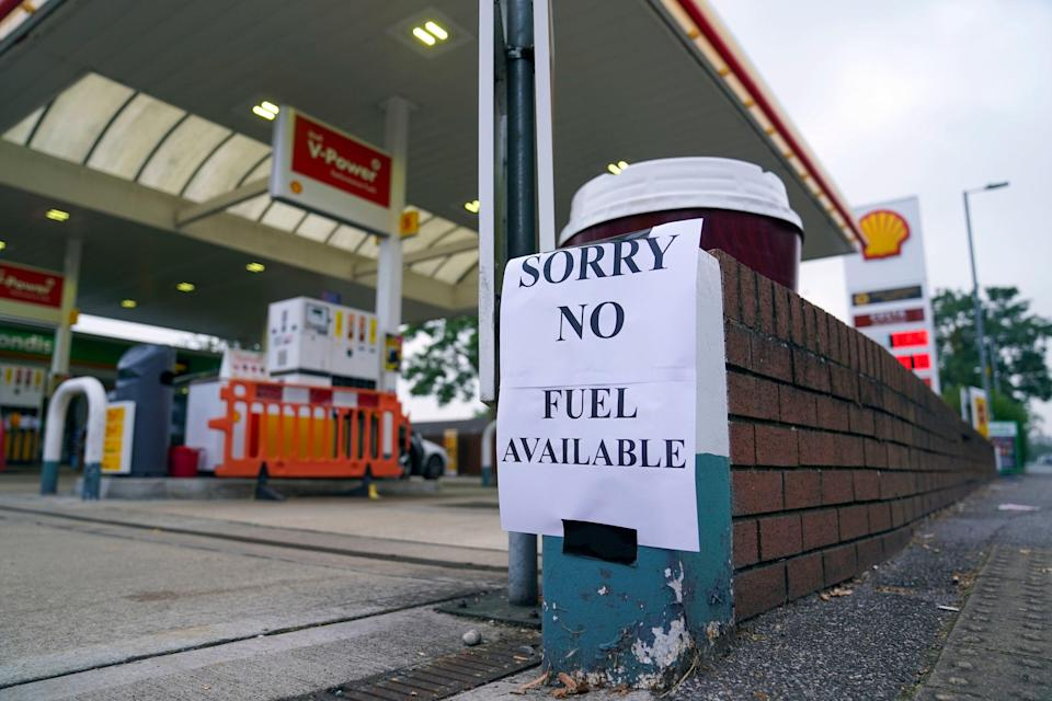 A dry Shell petrol station in Bracknell, Berkshire (PA)