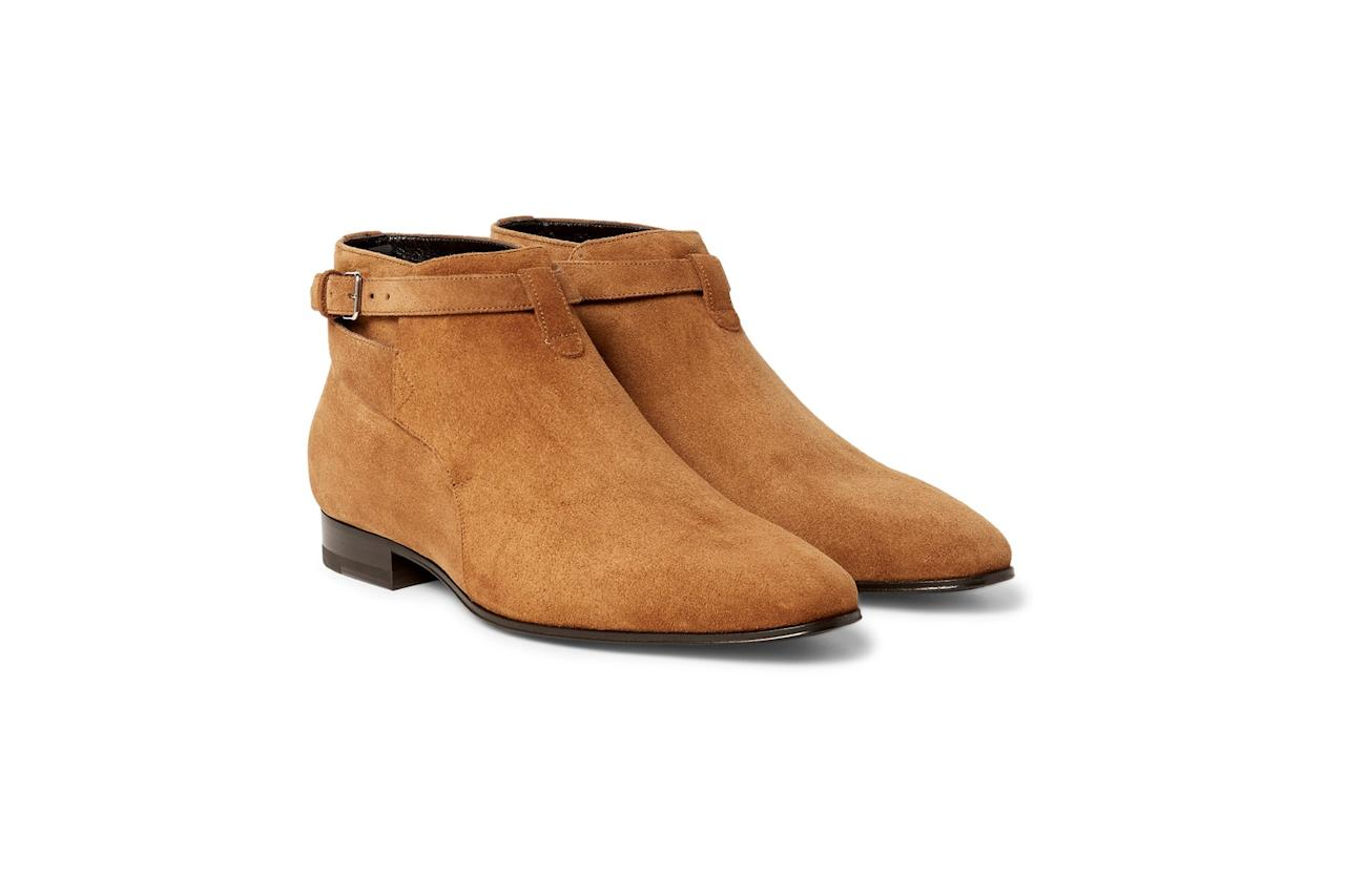 """<p>Give your Chelsea boots a break in favor of these less common jodhpur boots. The shorter silhouette makes them easy to wear with any pants and the straps draw eyes. —Liza Corsillo</p><p><em>$895, buy now at <a rel=""""nofollow"""" href=""""https://www.mrporter.com/en-us/mens/saint_laurent/suede-jodhpur-boots/810018?mbid=synd_yahoostyle&ppv=2"""">mrporter.com</a></em></p>"""