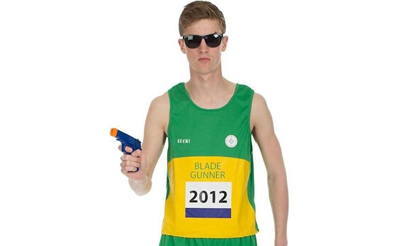 Mens Adult Oscar Pistorius Blade Runner Athlete Fancy Dress Costume Halloween Controversial Sport Sporting Uniform South Africa Outfit