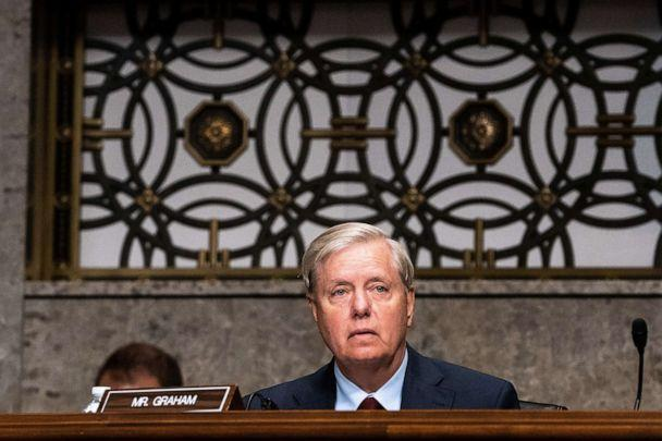 PHOTO: Republican Sen. Lindsey Graham listens during a hearing with the Senate Appropriations Subcommittee on Labor, Health and Human Services, Education, and Related Agencies on Capitol Hill, in Washington, Sept. 16, 2020. (Pool/Reuters)
