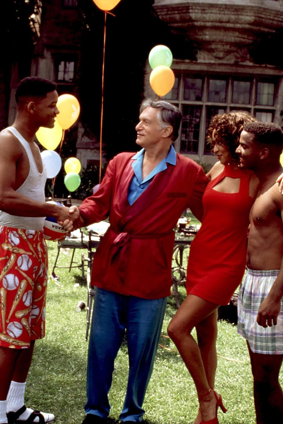 <p>Even his swim trunks had a preppy flair.</p>