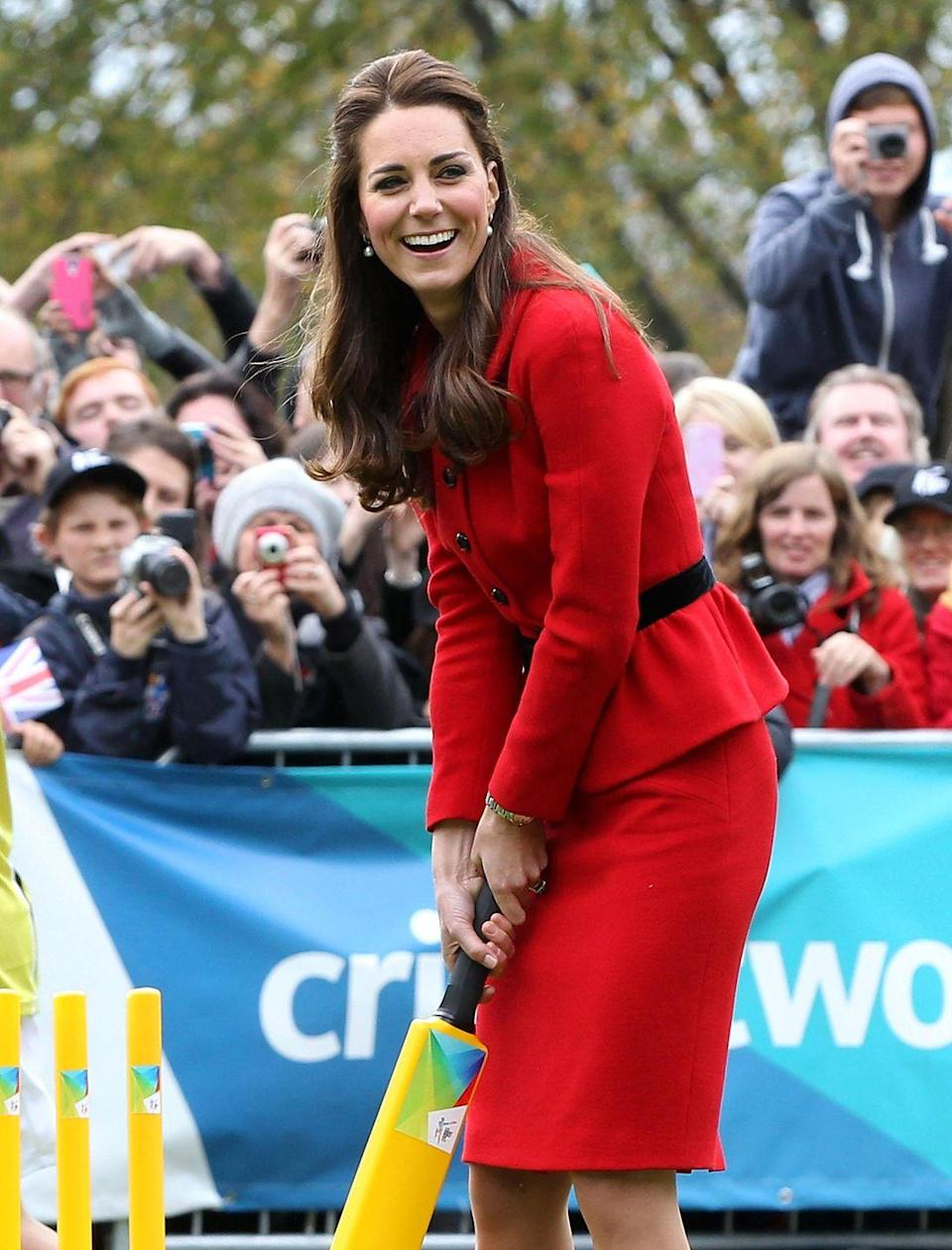 <p>Kate wore the Luisa Spagnoli again in 2014 during a visit to Christchurch, New Zealand as part of a three-week tour of Australia and New Zealand. She also played cricket in the outfit. Because princesses should be able to play cricket in anything, duh! </p>