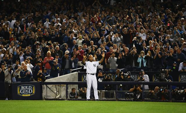 NEW YORK, NY - SEPTEMBER 26: Mariano Rivera #42 of the New York Yankees waves to the crowd after leaving the game against the Tampa Bay Rays in the ninth inning during their game on September 26, 2013 at Yankee Stadium in the Bronx borough of New York City. (Photo by Al Bello/Getty Images)