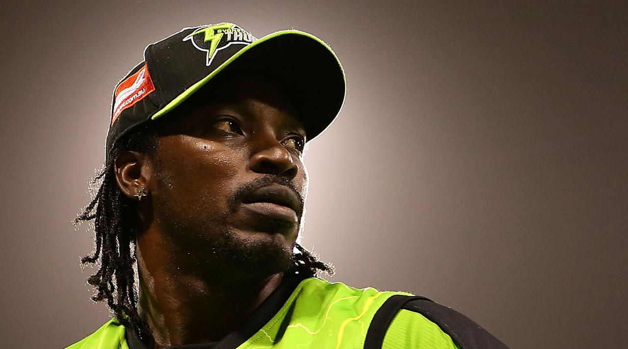 PERTH, AUSTRALIA - JANUARY 04: Chris Gayle of the Thunder looks on losing the Big Bash League match between the Perth Scorchers and the Sydney Thunder at WACA on January 4, 2013 in Perth, Australia. (Photo by Paul Kane/Getty Images)