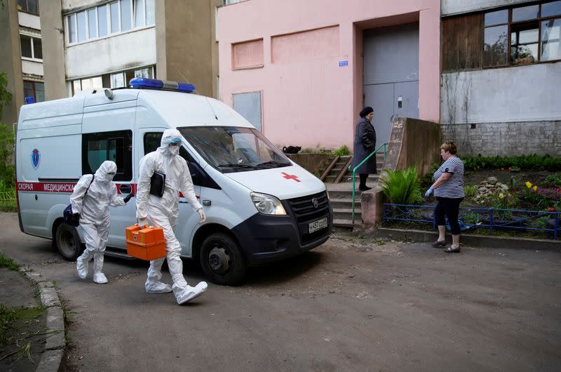 Paramedics carry out their duties amid the coronavirus disease outbreak in Tver