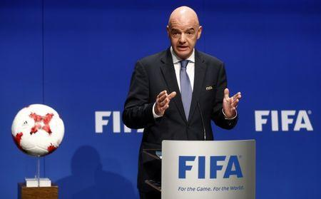 FIFA President Gianni Infantino addresses a news conference after a FIFA Council in Zurich, Switzerland, January 10, 2017. REUTERS/Arnd Wiegmann