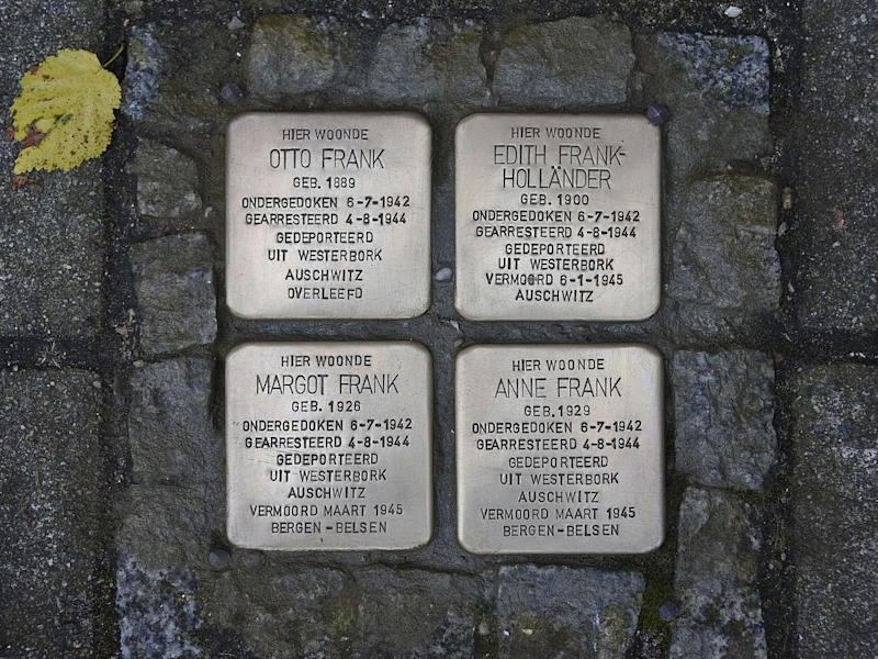 Stolpersteine commemorating the Frank family elsewhere in Amsterdam: Christian Michelides/Wikimedia Commons