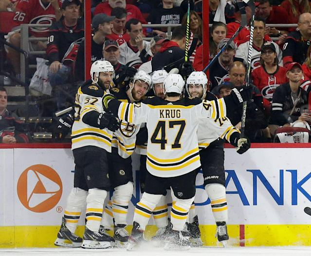 The Bruins swept the Hurricanes with ease to advance to the Stanley Cup Final. (AP Photo/Gerry Broome)