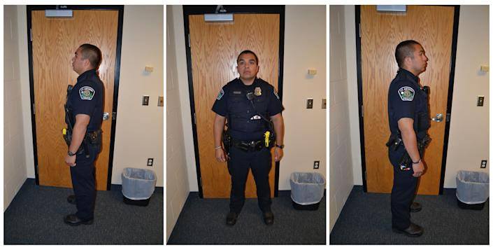 St. Anthony Police Department officer Jeronimo Yanez poses for investigation photographs after he fatally shot Philando Castile during a traffic stop in July of 2016.