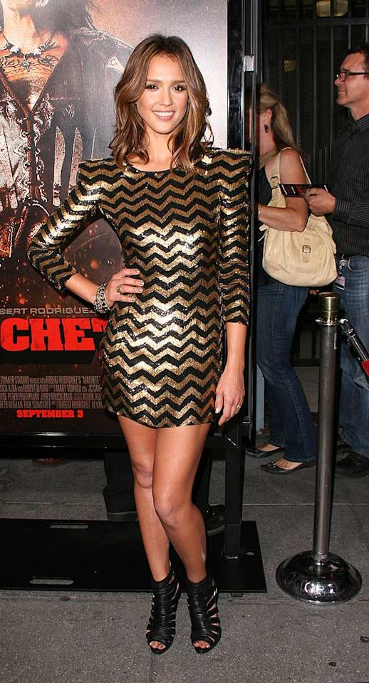 "Jessica Alba -- who surprisingly hasn't appeared in ""2 Hot 2 Handle"" since early July -- reclaimed a spot in our glam gallery thanks to the bold Balmain mini she recently wore to the LA premiere of ""Machete."" The actress perfectly paired the zigzag frock with bangle bracelets, a wavy 'do, and $1,350 Christian Louboutin cutout booties. Amanda Leddy/<a href=""http://www.splashnewsonline.com"" target=""new"">Splash News</a> - August 25, 2010"