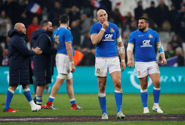 Rugby Union - Six Nations Championship - France vs Italy - Orange Velodrome, Marseille, France - February 23, 2018 Italy's Sergio Parisse and team mates look dejected after the game REUTERS/Jean-Paul Pelissier